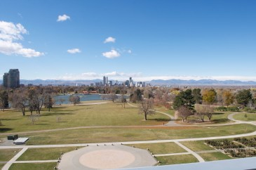 View from the museum towards download Denver and the mountains