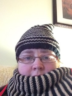 Julie got my an Arctic had and scarf that I wore for my video chats.