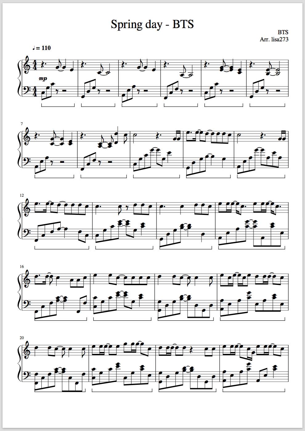 Kpop Sheet Music : sheet, music, Spring, Sheet, Music, Piano