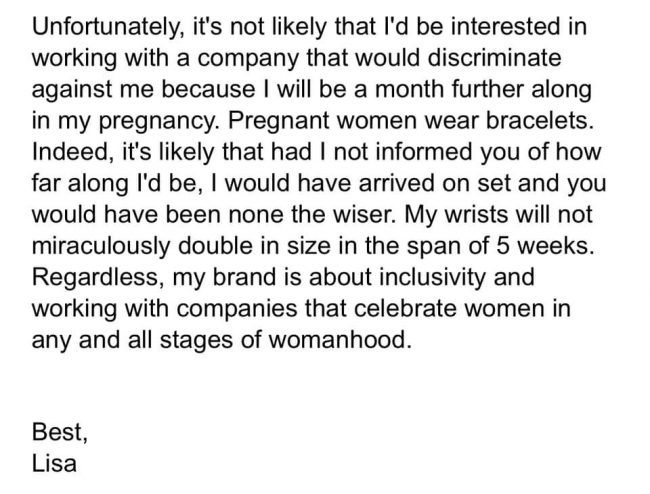 Too Pregnant to Model Email Response