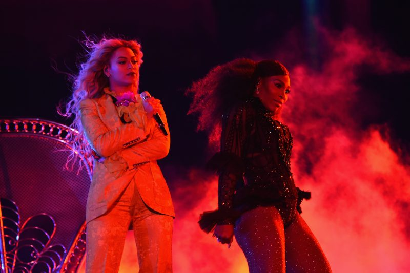 "EAST RUTHERFORD, NJ - OCTOBER 07: Entertainer Beyonce and tennis player Serena Williams perform on stage during closing night of ""The Formation World Tour"" at MetLife Stadium on October 7, 2016 in East Rutherford, New Jersey. (Photo by Larry Busacca/PW/WireImage)"