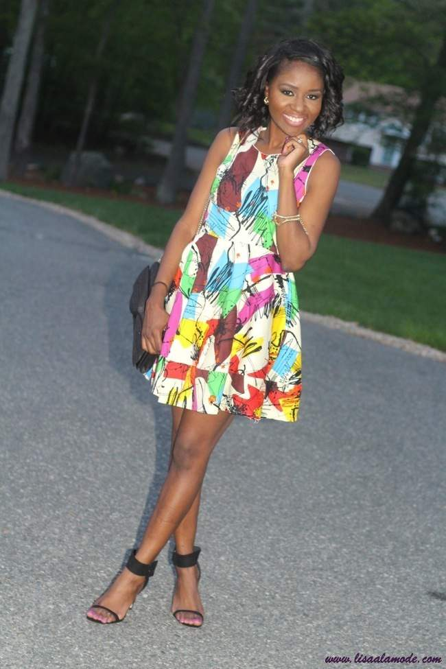 Multicolor-Sleeveless-Graffiti-Print-Flare-Short-Dress