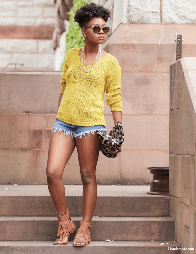 black blogger shorts outfit