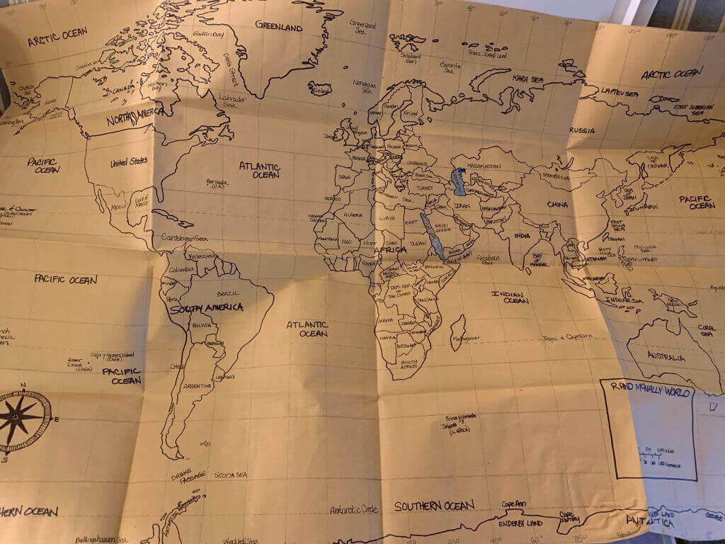 World map for homeschooling