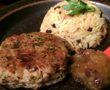 Thai chicken burger and coconut rice