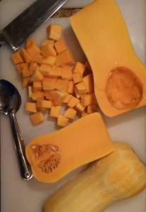 prepping butternut squash