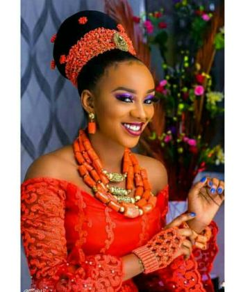 African Wedding Coral Beads Set for Nigerian Bride