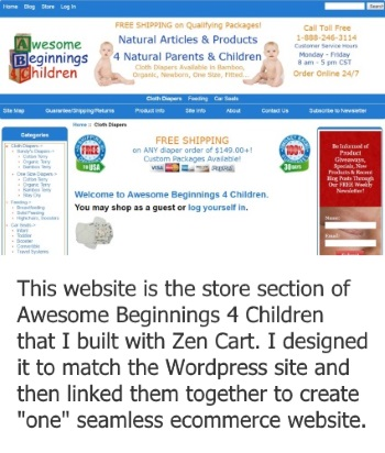 snapshot of Awesome Beginnings 4 Children online store