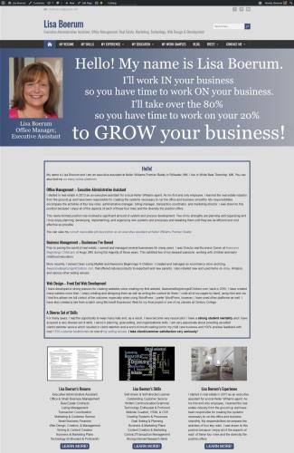 snapshot of Lisa Boerum's resume and portfolio website