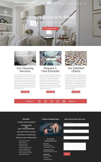 snapshot of Pristine Cleaning Team website