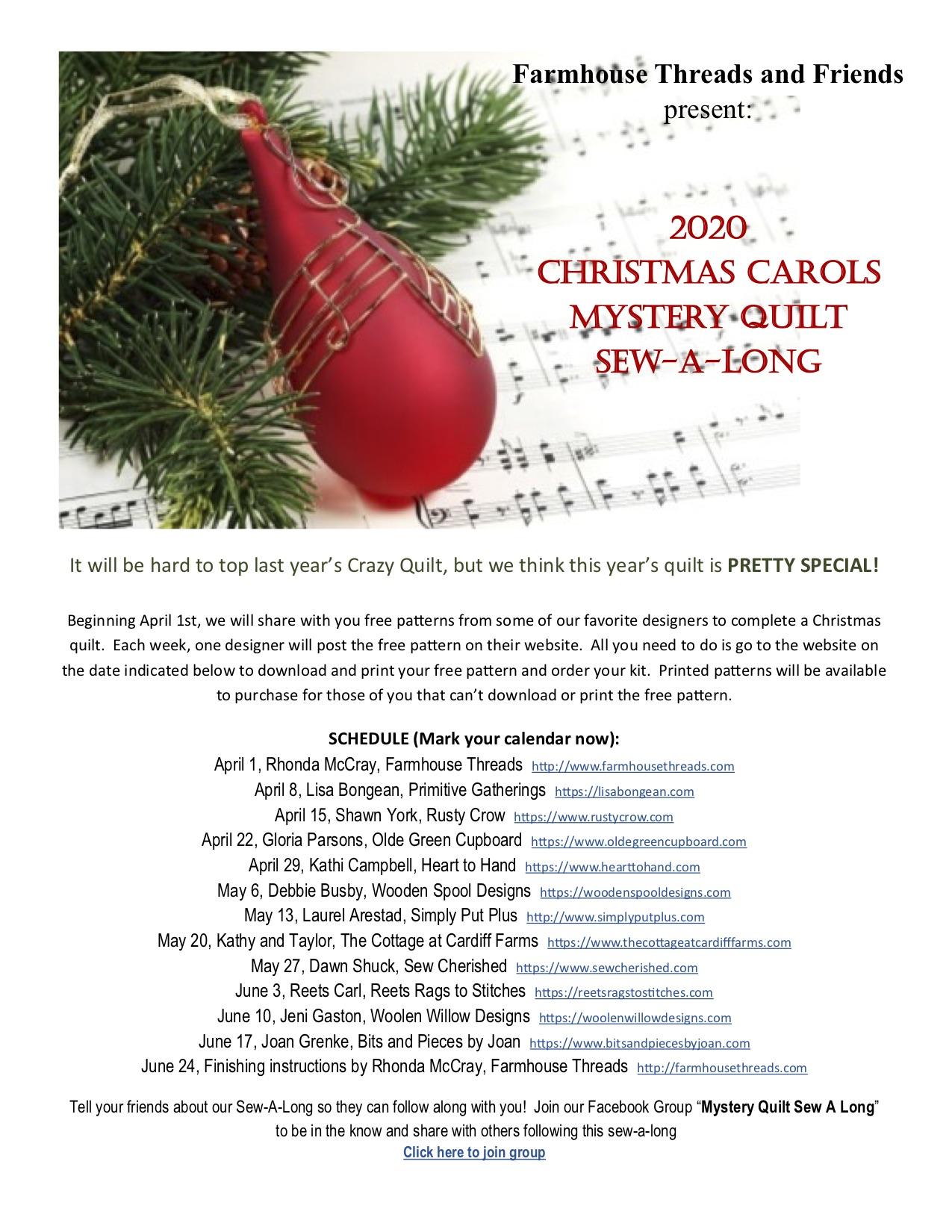 2020 Christmas Carols 2020 Christmas Carols Mystery Quilt Sew Along | Lisa Bongean