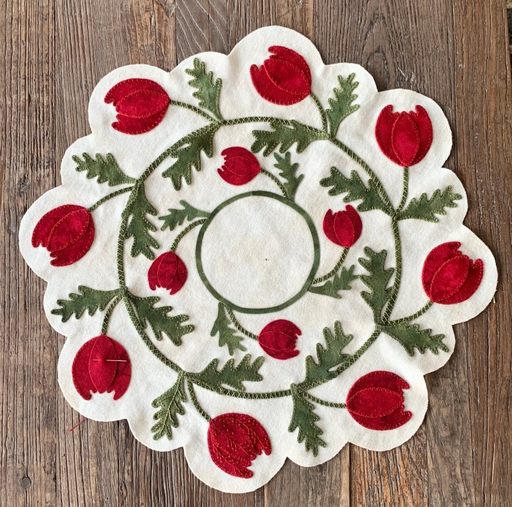 Triumph Tulips Wool Applique Mats featured by top US quilting and sewing blogger, Lisa Bongean