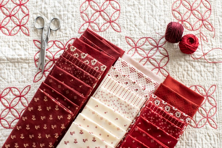 Friday Quilting Giveaway: Redwork Gatherings Quilting Fabric from Moda, a giveaway featured by top US quilting blogger, Lisa Bongean