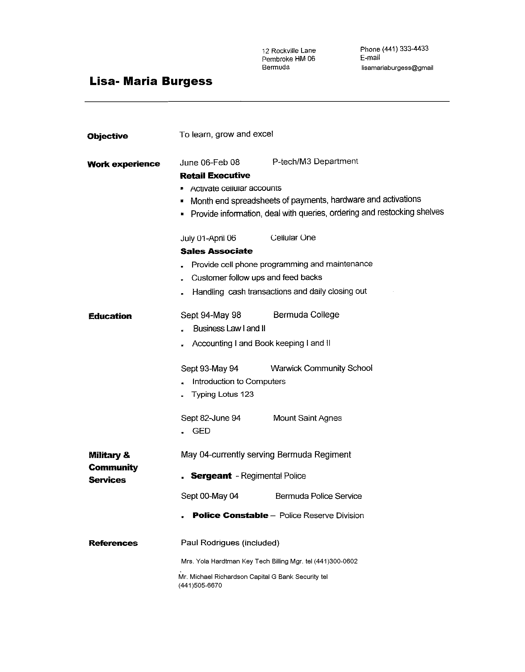 Resume Format Resume Samples To Copy And Paste