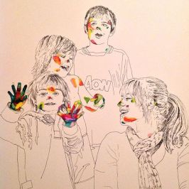 A3 Pen Ink and Gouache 'Sarah and the boys'