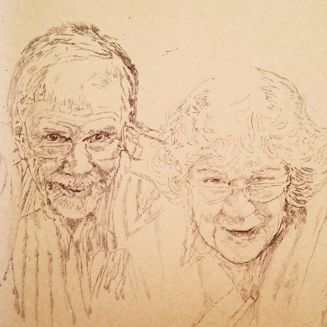 Initial pencil sketch for commission portrait. Loveliest folks