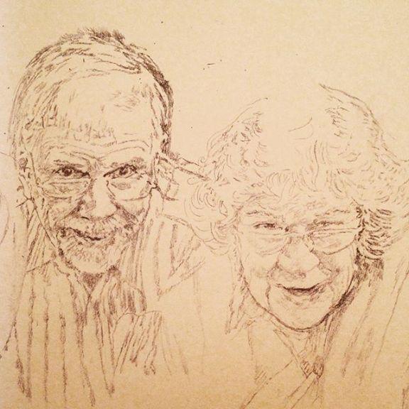 Initial pencil sketch for commission portrait. Loveliest folks