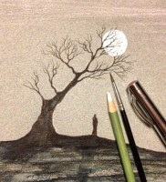 Multitasking, babysitting and drawing :) #tree #figure #penandinksketch