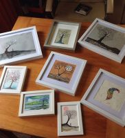 Fresh art, just ready. Get em while they're hot.  #art #framed #trees #feathers