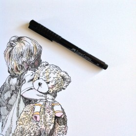 Boy and his bear A5 pen and carand'ache