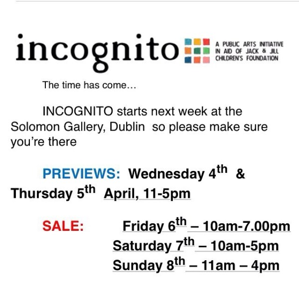 A really exciting and slightly unconventional opportunity to buy art in Ireland next week. Check it out.  incognito.ie