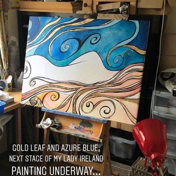 Lady Ireland on the easel.