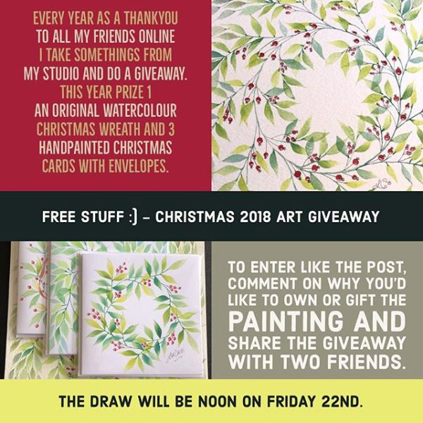 "Every year to thank, all my friends online, I take some things from my studio and do a Christmas giveaway.  This year there are two different Prizes to be won.  This Prize is an original watercolour painting ""Christmas wreath"" and three hand painted Christmas cards with envelopes.  To enter – like this post, follow @lisa_cat and tag two friends in the comments.  The draw will be on at noon on Friday, the 22nd of December.  Good luck and Merry Christmas"