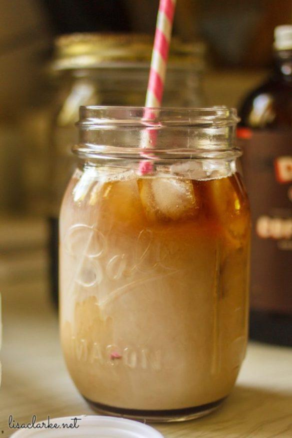 Iced coffee in a mason jar.