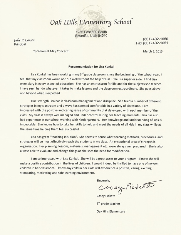 Letters Of Recommendation Lisa Cuestas Teaching Portfolio