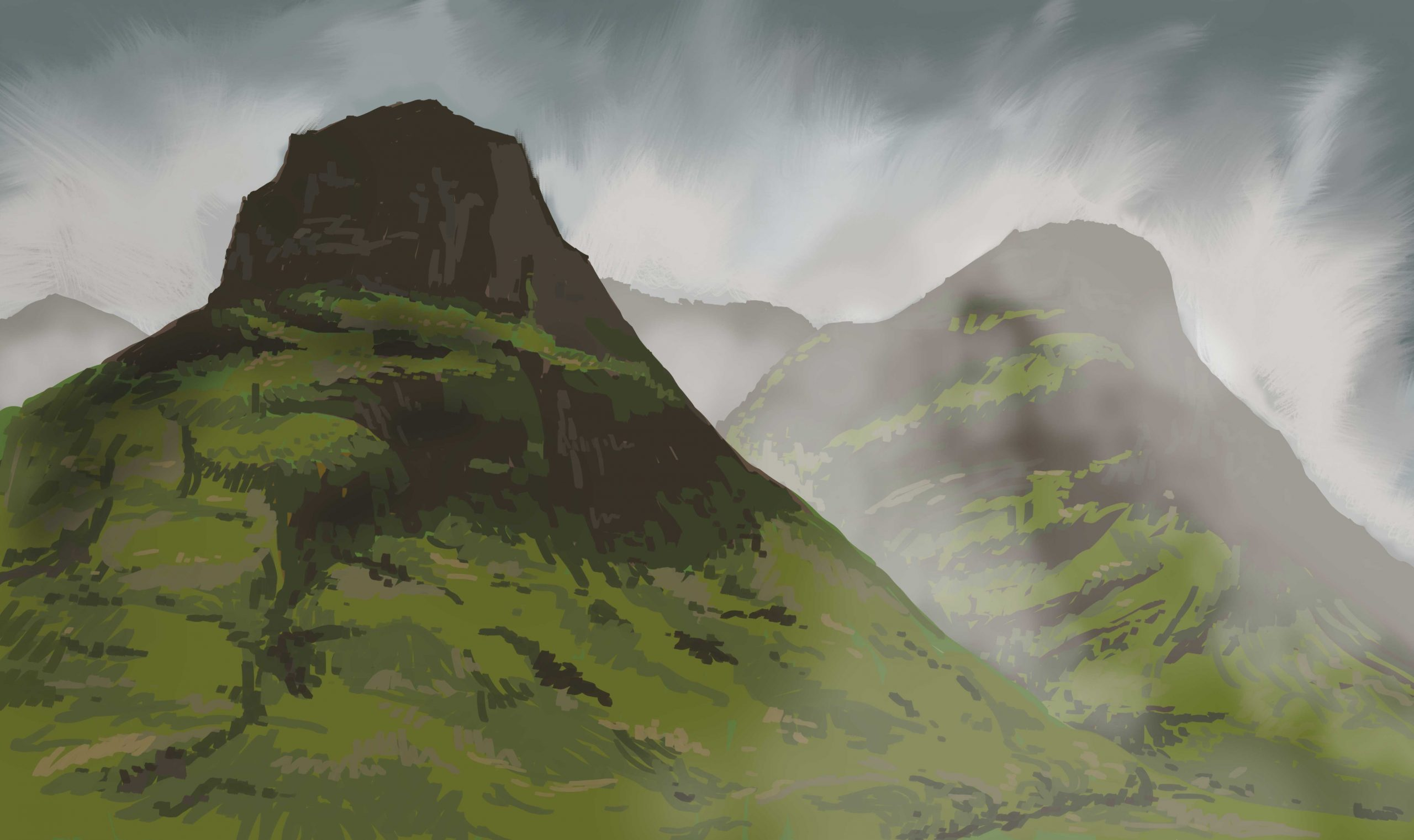 Scottish highlands, digital painting by Lisa Cuthbertson