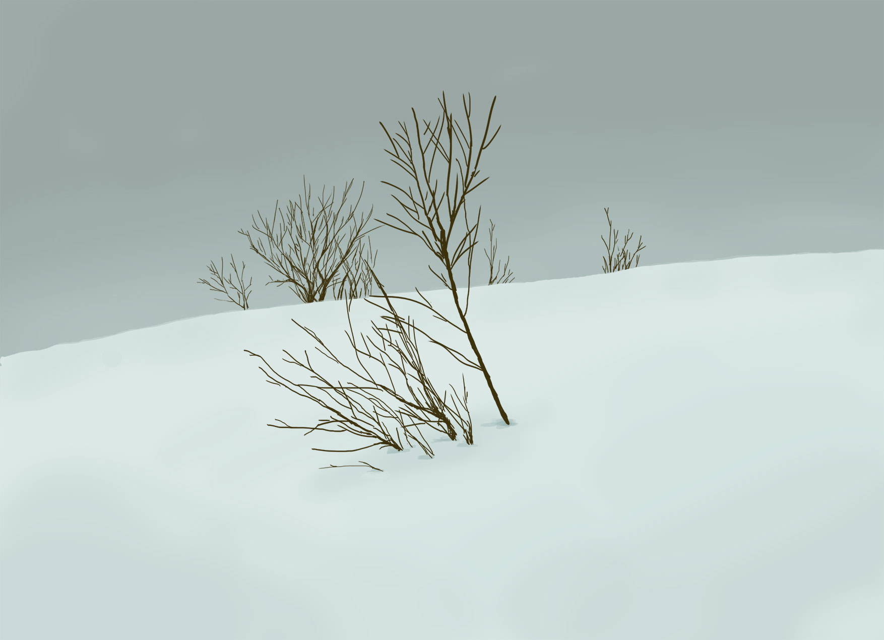 Snowy landscape, digital painting by Lisa Cuthbertson