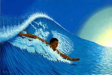 Barack Obama Riding the Big Wave of Change | Print of Painting by Ken Charon