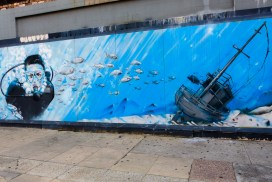 Street Art - Newcastle - October 2015 - Diver and Ship - Hunter Street - Artist Unknown