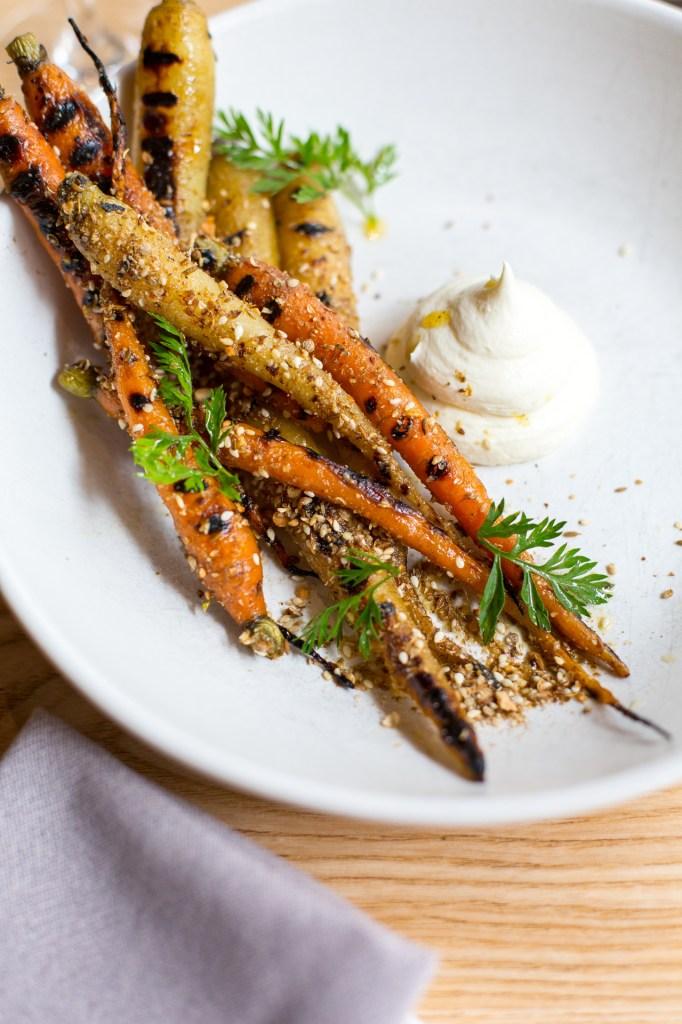 BBQ Carrots  almond dukkah, labne