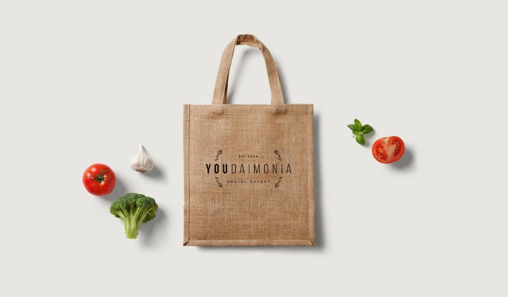Youdaimonia restaurant eco bag designs, by Lisa Furze