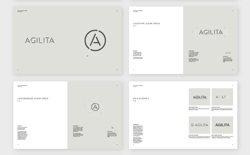 Style guide pages for workplace furniture designer Agilita, by Parent.