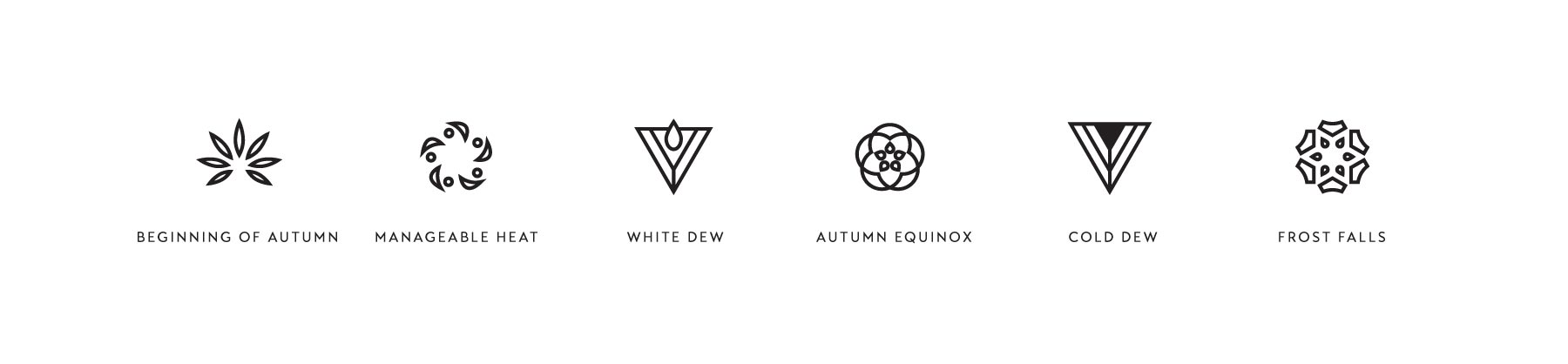 Icon designs for the autumn seasons, created by Lisa Furze