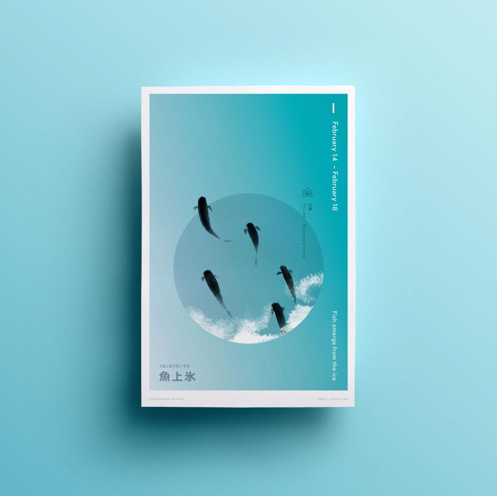 Fish Emerge From the Ice, poster design by Lisa Furze