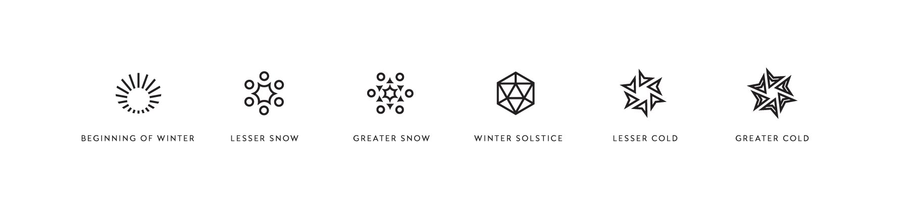 Icon designs for the winter seasons, created by Lisa Furze