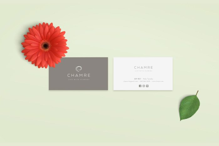Chamre business card design, created by Lisa Furze
