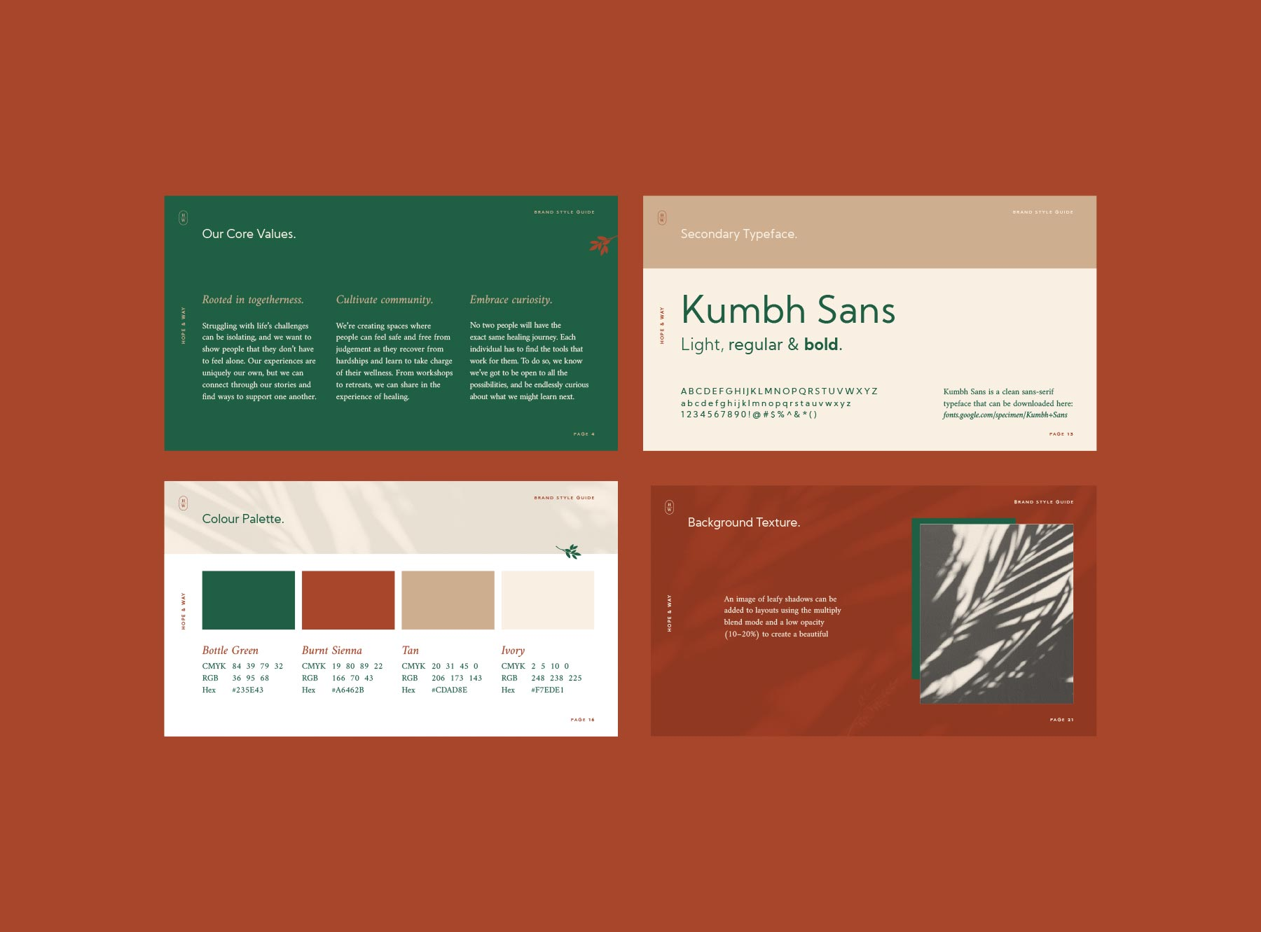 Brand style guide page examples