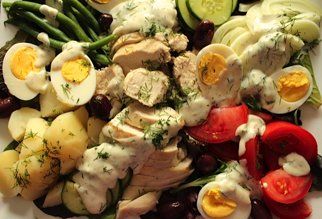 Scandinavian Salade Nicoise with Poached Chicken