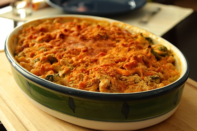 Lightened up, Baked Macaroni and Cheese
