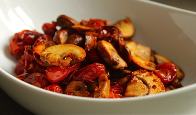 Provence Style Mushrooms with Roasted Tomatoes