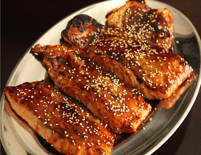Barbequed Salmon with a Spicy Sesame-Soy Glaze