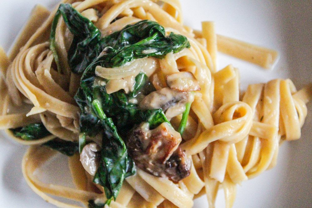 Pasta in a Creamy Mushroom Sauce with Baby Spinach
