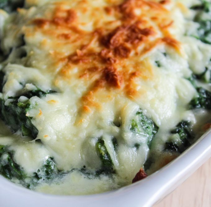 Baked Cauliflower Cream Spinach