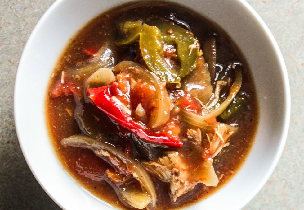 Sweet and Sour Crockpot Pepper Chicken