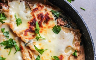 Sausage and Alfredo Skillet Lasagna with Fresh Spinach