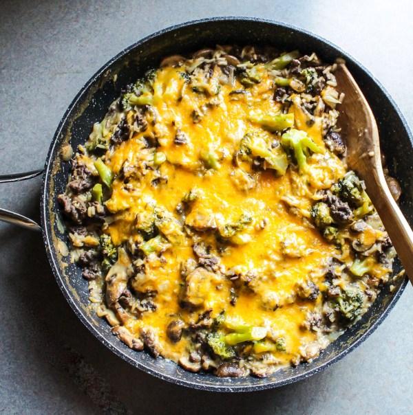 Skillet CheesyBeef and Rice Broccoli Casserole LisaGCooks.com